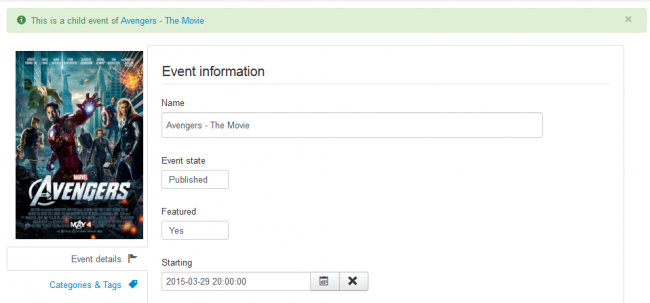Create events quickly from the back-end and the front-end